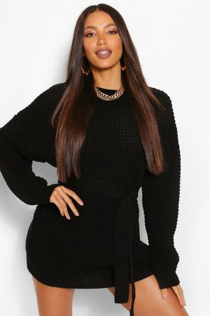 Boohoo Women Casual Dresses - Tall Waffle Knit Belted Jumper Dress
