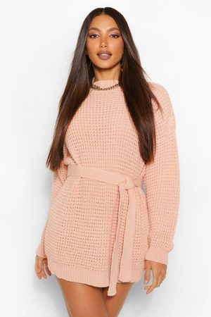 Boohoo Women Casual Dresses - Tall Waffle Knit Belted Jumper Dress- Blush