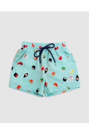 Mosmann Boys Board Shorts - Sushi Swim Shorts Kids - Swimwear (Blue_green) Sushi Swim Shorts - Kids