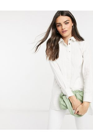 People Tree Longline cotton shirt with curved hem