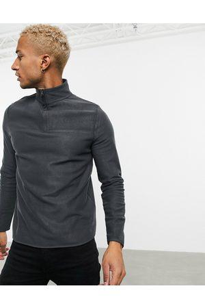 ASOS Polar fleece sweatshirt with half zip in charcoal grey-Black