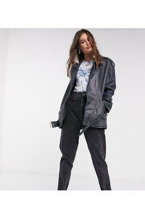 ASOS ASOS DESIGN Tall oversized washed leather biker jacket in black