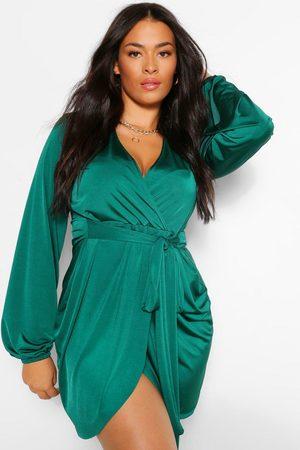Boohoo Plus Disco Slinky Belted Wrap Dress- Emerald