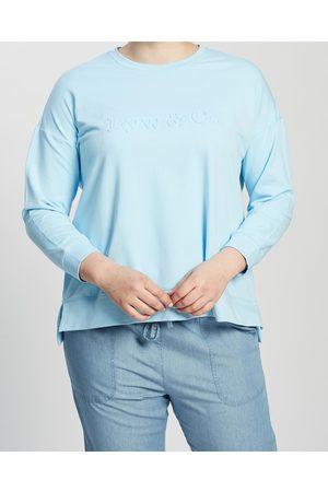 Love Your Wardrobe Lyw & Co Embossed Sweat - Sweats (Aqua) Lyw & Co Embossed Sweat