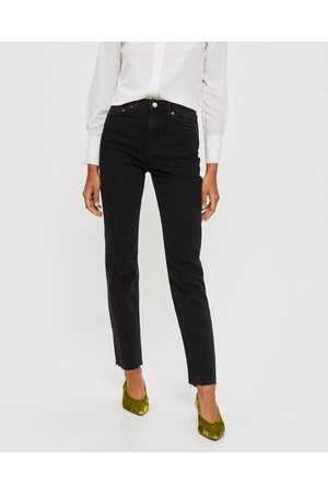 Topshop Washed Raw Hem Straight Leg Jeans - High-Waisted (Light Washed ) Washed Raw Hem Straight Leg Jeans
