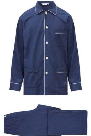 DEREK ROSE Men Pyjamas - Balmoral Brushed-cotton Pyjama Set - Mens - Navy