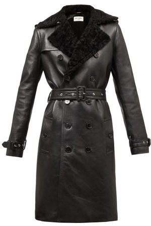 Saint Laurent Double-breasted Shearling Trench Coat - Womens