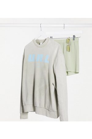 COLLUSION Unisex sweatshirt with print in blue-Grey