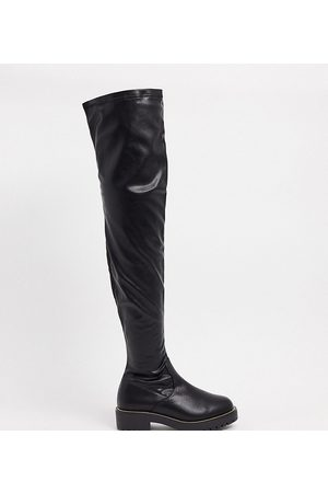 ASOS Wide Fit Kate flat knee boots in black