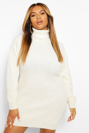 Boohoo Plus Roll Neck Jumper Dress- Ecru