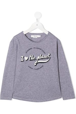 BONPOINT Slogan print long-sleeve top
