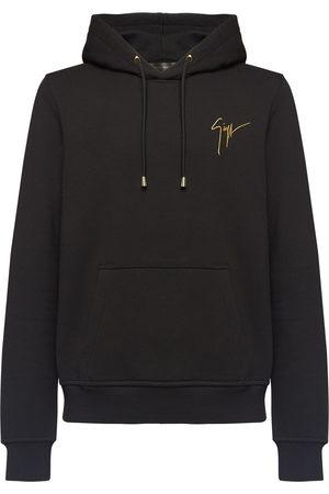 Giuseppe Zanotti Men Hoodies - Embroidered logo drawstring hoodie