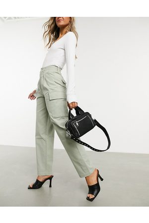 ASOS Pleat front chino with cargo pockets in sage-Green