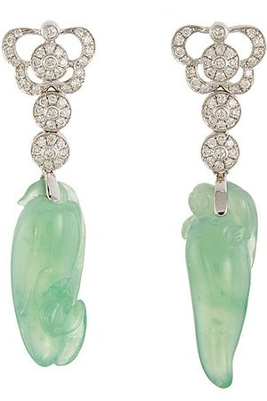 SAMUEL KUNG Diamond jadeite 18k white gold mismatched drop earrings