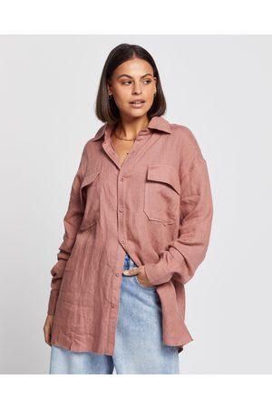 AERE Linen Pocket Detail Shirt - Tops ( Rose) Linen Pocket Detail Shirt