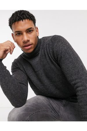 ASOS Lambswool roll neck jumper in charcoal-Grey
