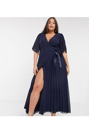 ASOS ASOS DESIGN Curve exclusive maxi dress with kimono sleeve and tie waist in pleat-Navy