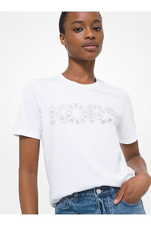Michael Kors MK Studded Logo Cotton Jersey T-Shirt - - Michael Kors