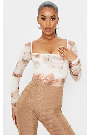 PRETTYLITTLETHING Nude Smoke Printed Soft Touch Square Neck Long Sleeve Bodysuit