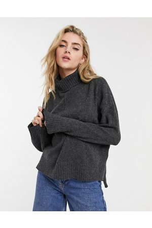 Noisy May Sweaters - Roll-neck jumper with seam detail in dark grey