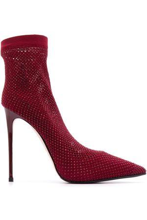LE SILLA Embellished sock stiletto pumps