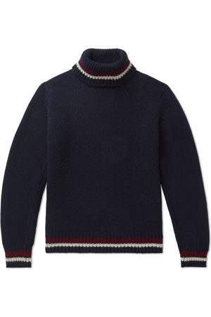 KINGSMAN Men Sweaters - Slim-Fit Striped-Trimmed Wool and Cashmere-Blend Rollneck Sweater