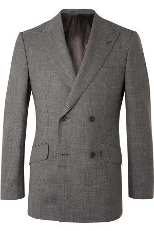 KINGSMAN Men Jackets - Archie Reid Slim-Fit Double-Breasted Prince of Wales Checked Wool Suit Jacket