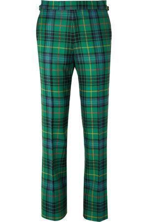 KINGSMAN Men Skinny Pants - Slim-Fit Checked Wool-Flannel Trousers