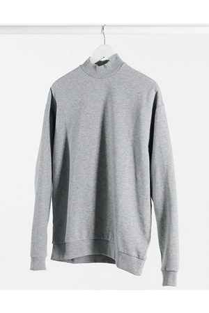 ASOS Oversized sweatshirt with turtle neck in grey marl
