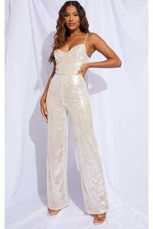 PRETTYLITTLETHING Premium Champagne Sequin Binding Detail Strappy Jumpsuit