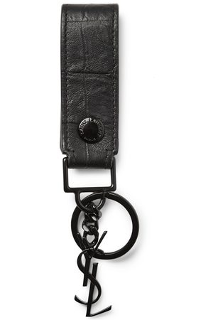 Saint Laurent Croc-Effect Leather Key Fob