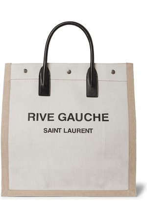 Saint Laurent Noe Logo-Print Leather-Trimmed Canvas Tote Bag