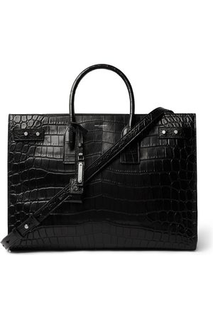 Saint Laurent Croc-Effect Leather Tote Bag