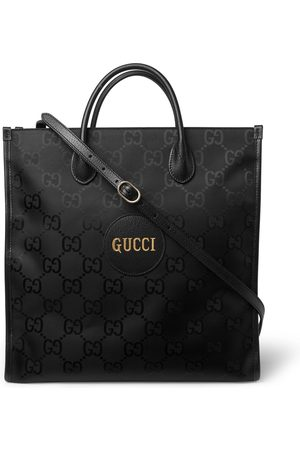 Gucci Men Tote Bags - Off the Grid Leather-Trimmed Monogrammed ECONYL Canvas Tote Bag