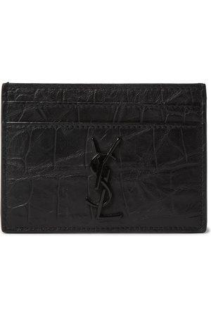 Saint Laurent Logo-Appliquéd Croc-Effect Leather Wallet