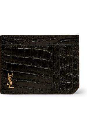 Saint Laurent Men Wallets - Logo-Appliquéd Croc-Effect Leather Cardholder