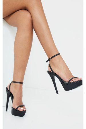 PRETTYLITTLETHING PU Platform Strappy High Heels
