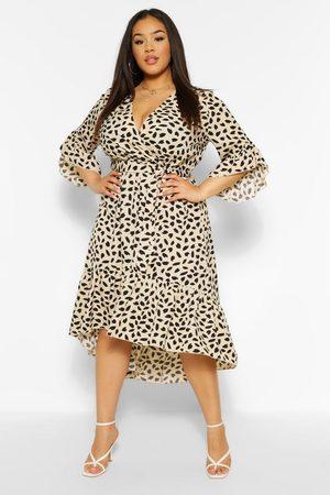 Boohoo Plus Ruffle Hem Spotty Wrap Dress- Ivory