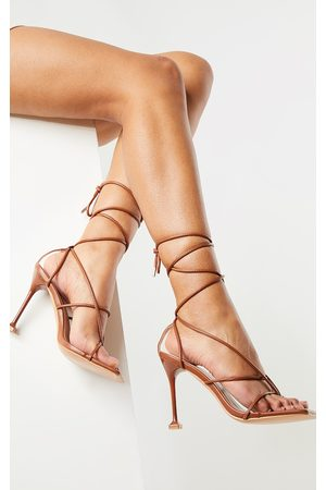 PRETTYLITTLETHING Chocolate Square Toe Strappy Lace Up Toe Thong High Heels Sandals