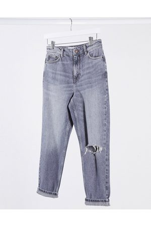 Topshop Ripped mom jeans in grey