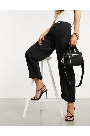 ASOS Slouchy chino pants in black
