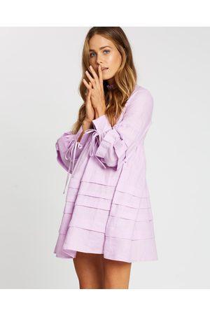 AERE Pleat Detail Linen Smock Dress - Dresses (Lilac) Pleat Detail Linen Smock Dress