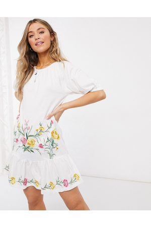ASOS Embroidered smock midi dress with puff sleeve in white