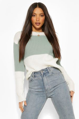 Boohoo Tall Colour Block Knitted Sweater