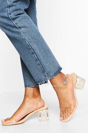 Boohoo Wide Fit Low Clear Heel 2 Part- Nude