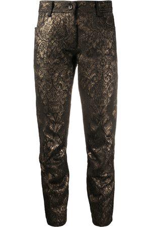 ANN DEMEULEMEESTER Cropped metallic thread trousers