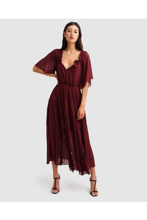 Belle & Bloom Amour Amour Ruffled Midi Dress - Dresses (Burgundy) Amour Amour Ruffled Midi Dress