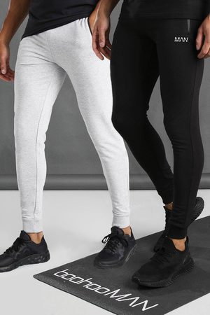 Boohoo Mens Multi Active 2 Pack Skinny Joggers With Zip Pockets