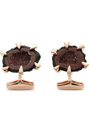 Tateossian Rose gold plated geode crystal cufflinks