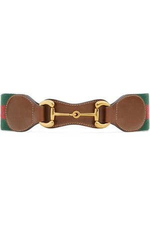 Gucci Women Belts - Web belt with leather and Horsebit